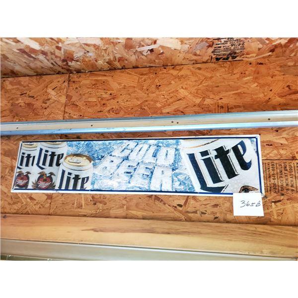 "Miller Lite Tin Sign, 40"" x 9"""