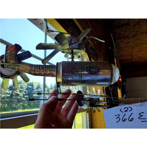 2 Hand Crafted Beer and Soda Can Airplanes