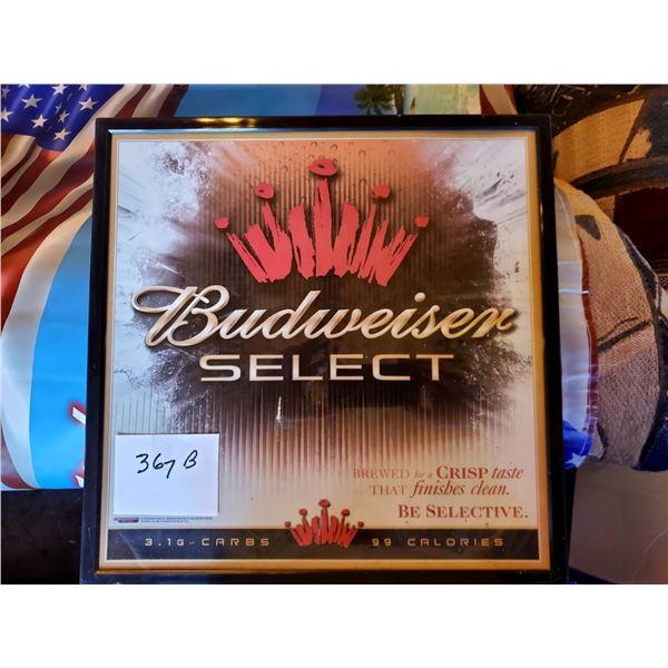 "Budweiser Select Framed Sign, 18"" x 18"""
