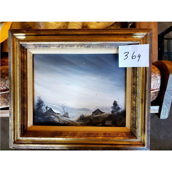 Patricia Holmes Stanley Original Painting, Barn Scene, Framed