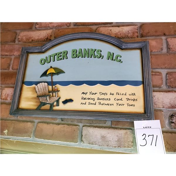 """Outer Banks NC, Hand Painted Resin Sign, 24"""" x 16"""