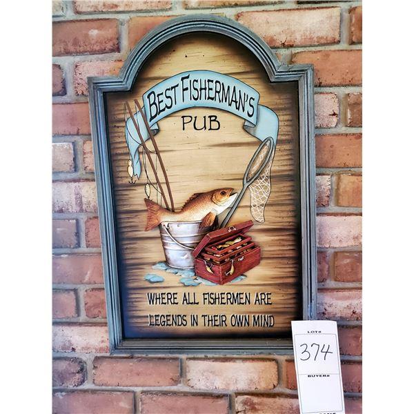 "Fisherman's 3D Wood/Resin Pub Sign, 27"" x 17.5"""