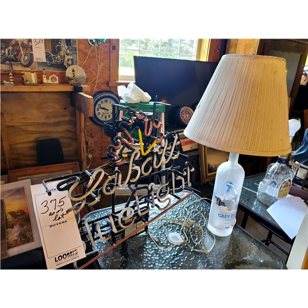 Upcycled Gray Goose Vodka Table Lamp, Labatt Blue Light Neon Sign, AS-IS
