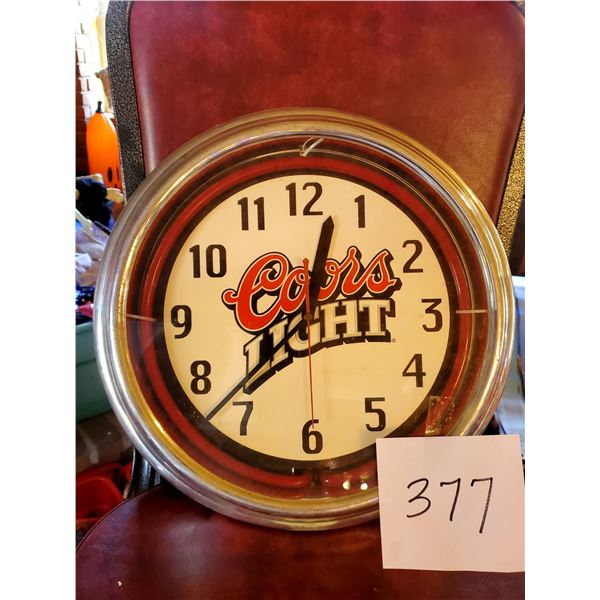 """Coors Light Battery Operated Wall Clock, 15"""" Dia."""