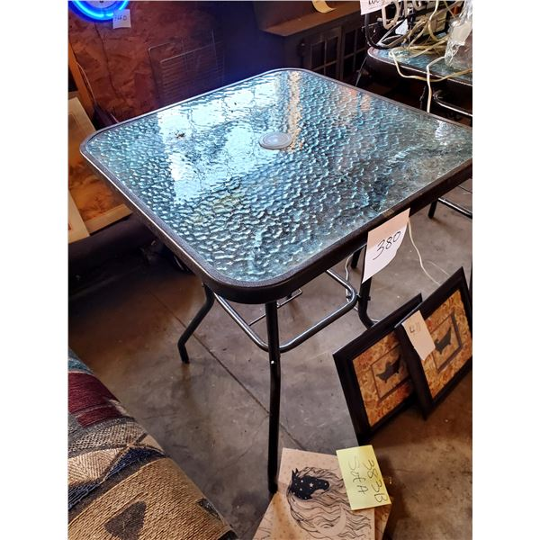 """New Iron Glass Top Table, 24"""""""