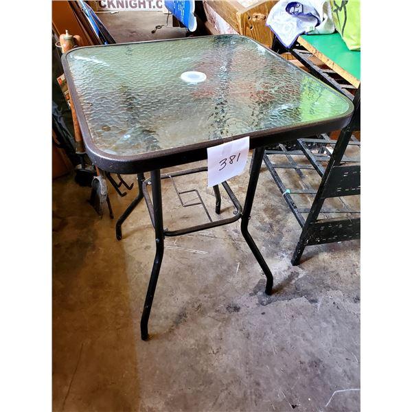 "New Umbrella Glass Top Table, 24"""