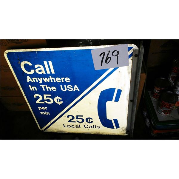 Vintage Metal Pay Phone Booth Sign, Condition Good, Just Needs Cleaned