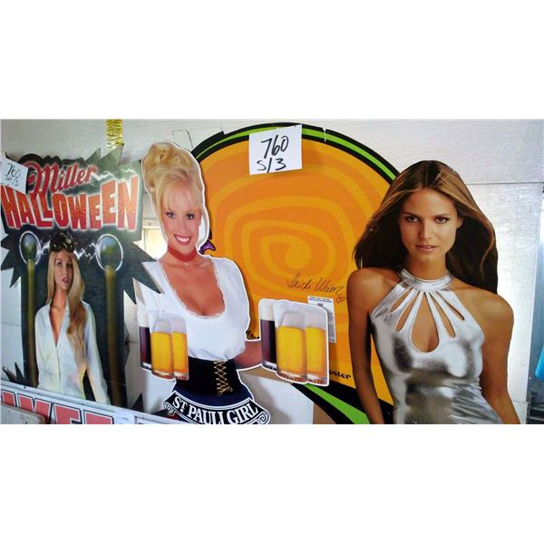 3 Approx. 6 Ft Cardboard Display Standees, Coors Light Heidi Klum, St. Pauli Girl, Miller Halloween