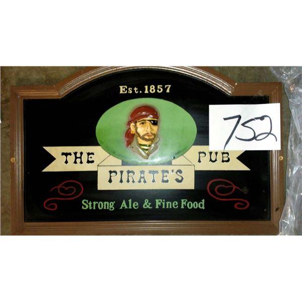 "Vintage Wood Framed ""The Pirate's Pub"" Sign"