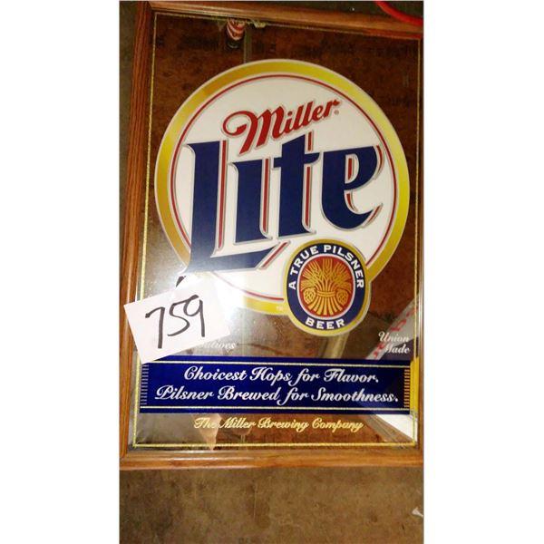 """Vintage Miller Lite Oak Framed Mirror Sign, Approx. 30"""", New"""