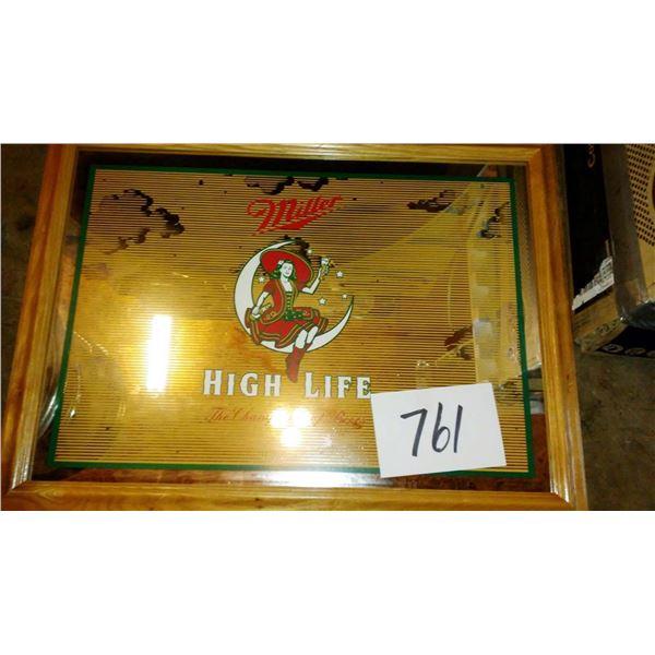 "Vintage Miller High Life Oak Framed Mirror Sign, New, Approx. 24"" x 20"""