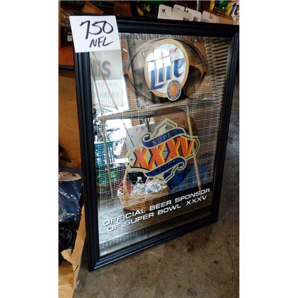"Miller Light Super Bowl XXV Framed Mirror Sign, Approx. 36"" New in Box"