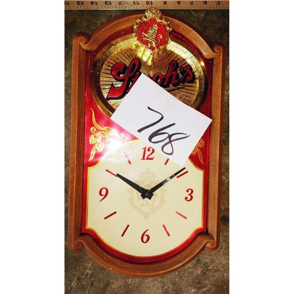 Vintage Stroh's Beer Clock, Wooden Frame