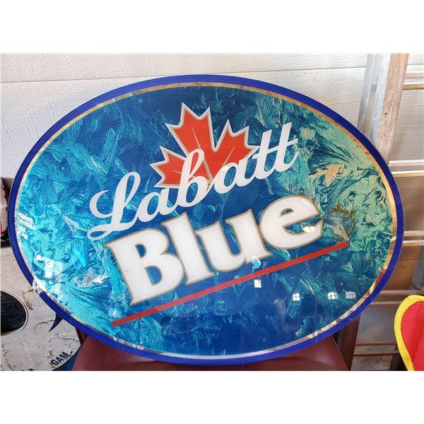 Glass Oval Labatt Blue Advertising Sign