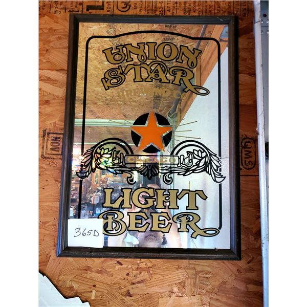 Union Star Light Beer Framed Mirror Advertising Sign