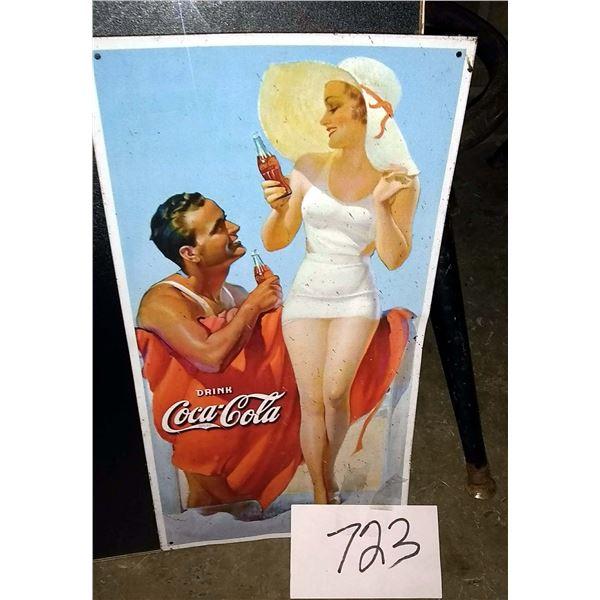 "Vintage Coca Cola Metal Sign Man & Woman at the Beach, 16"" x 8.5"""