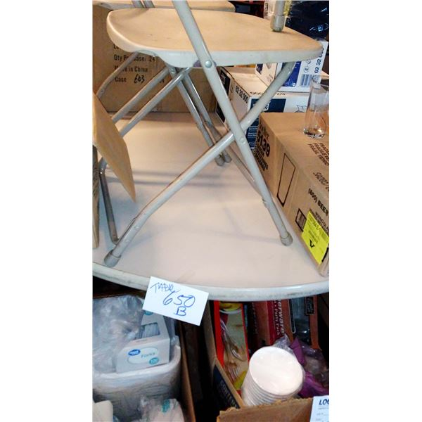 Heavy Duty Folding Table, w/ Round Blow-Molded Resin Table Top, 6 Ft Diameter
