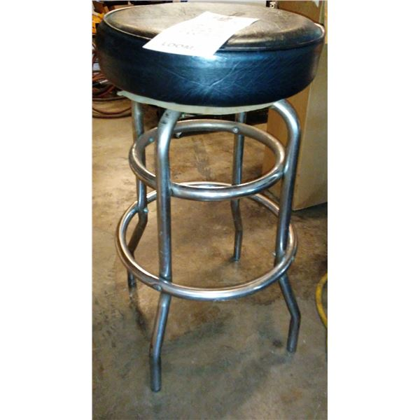 Black Double Ring Bar Stool w/ Thick Vinyl Covered Swivel Seat (2)