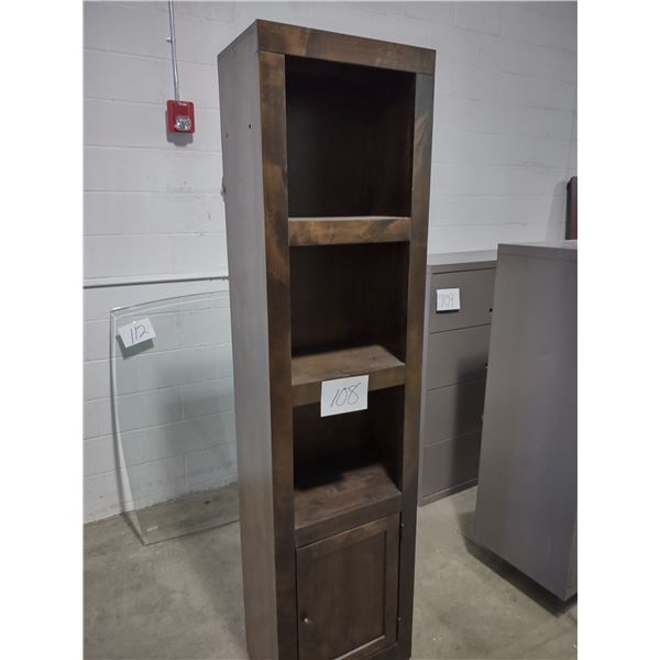 TALL WOODEN STORAGE CABINET, 3 SHELVES, ONE DOOR W/ 2 COMPARTMENTS