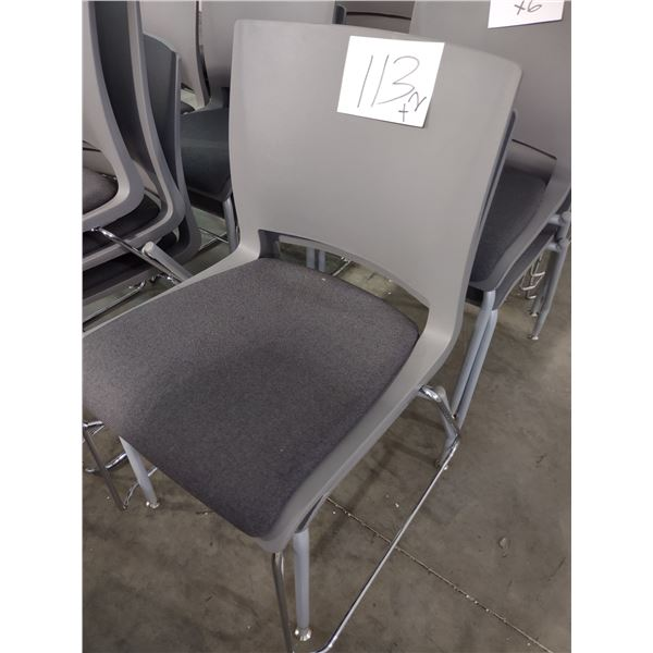 STACKABLE MOLDED RESIN CHAIRS WITH PADDED SEAT, STEEL FRAME (x2)