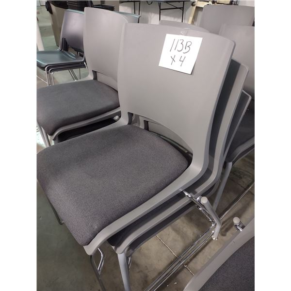 STACKABLE MOLDED RESIN CHAIRS WITH PADDED SEAT, STEEL FRAME (x4)