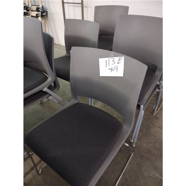STACKABLE MOLDED RESIN CHAIRS WITH PADDED SEAT, STEEL FRAME (x9)