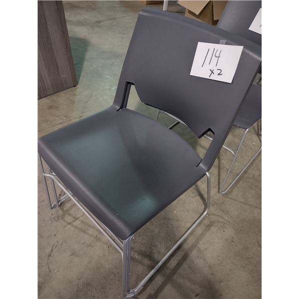 STACKABLE MOLDED RESIN CHAIRS (x2)