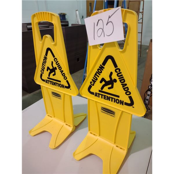 2 RUBBERMAID CAUTION SIGNS