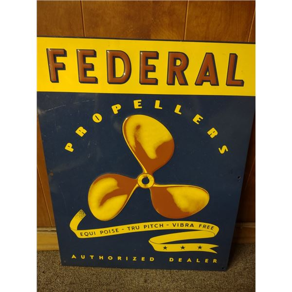 """Vintage Federal Propellers Authorized Dealer Embossed Tin Sign, 22"""" x 28"""""""
