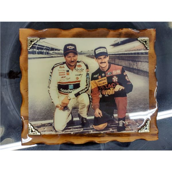 Rare Vintage Wooden Plaque w/ Photo of Dale Earnhardt and Davey Allison, Indy 1992