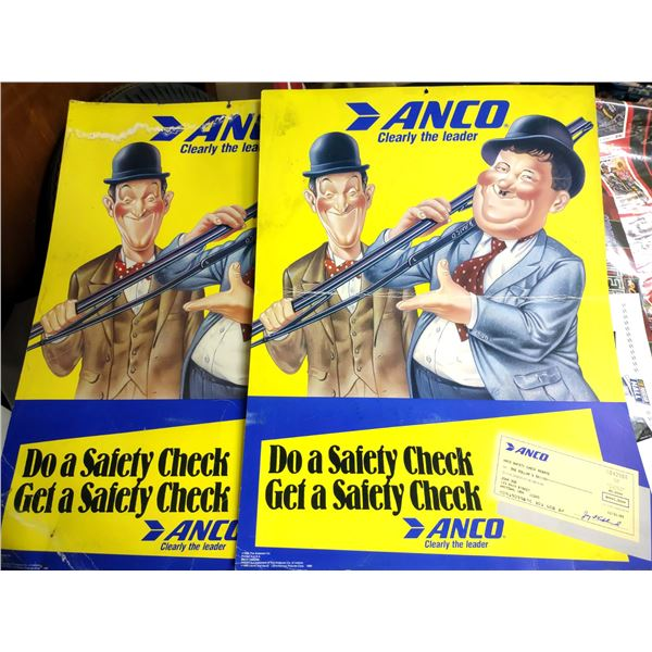 """Pair of Vintage Anco Wiper Blades Double Sided Cardboard Signs Featuring Laurel and Hardy 27"""" x 20"""""""