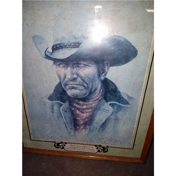 Framed Cowboy Print by Artist Bill Hampton