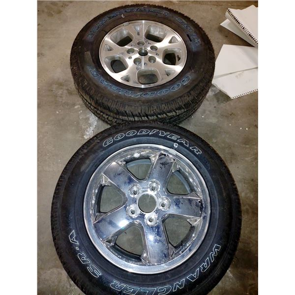Pair of New Goodyear Wrangler Tires with Rims (x2)