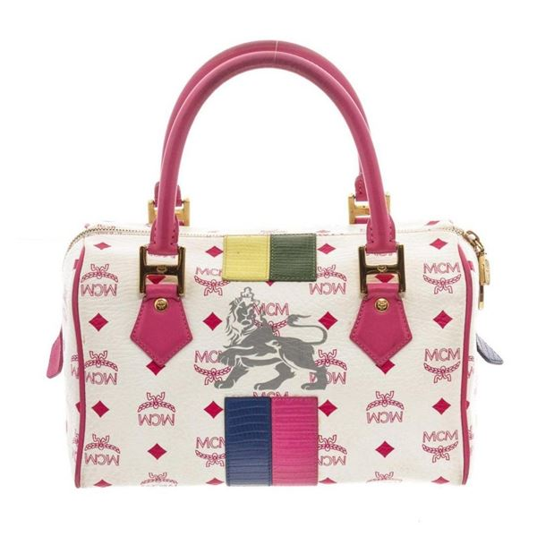 MCM Pink  White Visetos Coated Canvas  Leather Lion Boston Bag