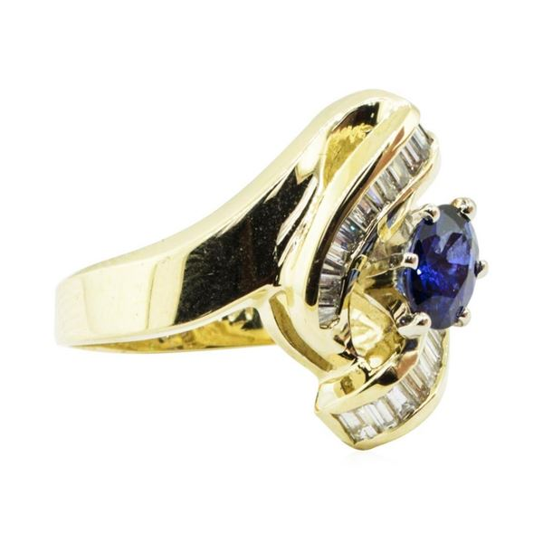 1.58 ctw Oval Brilliant Blue Sapphire And Diamond Ring - 14KT Yellow Gold