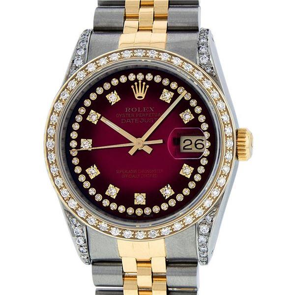 Rolex Mens 2 Tone Diamond Lugs Red Vignette Diamond 36MM Datejust Wristwatch