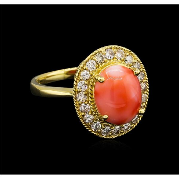 14KT Yellow Gold 3.16 ctw Coral and Diamond Ring