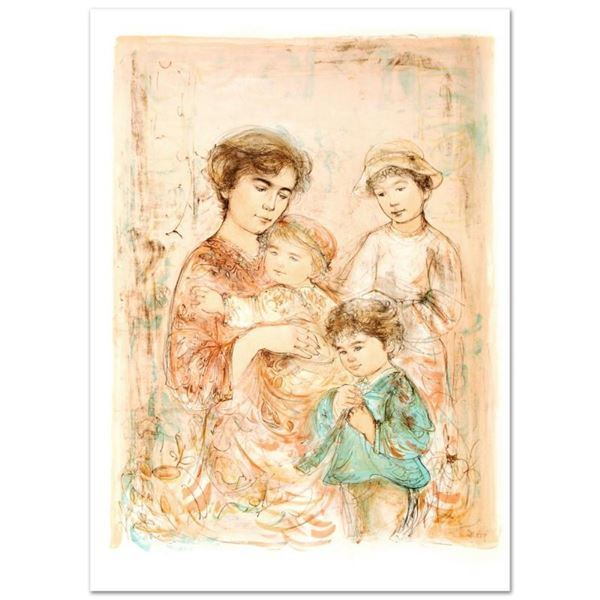 """Lotte and Her Children"" Limited Edition Lithograph (27"" x 37.5"") by Edna Hibel"