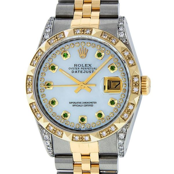 Rolex Mens 2 Tone Lugs MOP Emerald String Pyramid Diamond Datejust