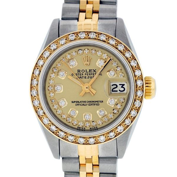 Rolex Ladies 2 Tone Champagne String Diamond Datejust Wristwatch