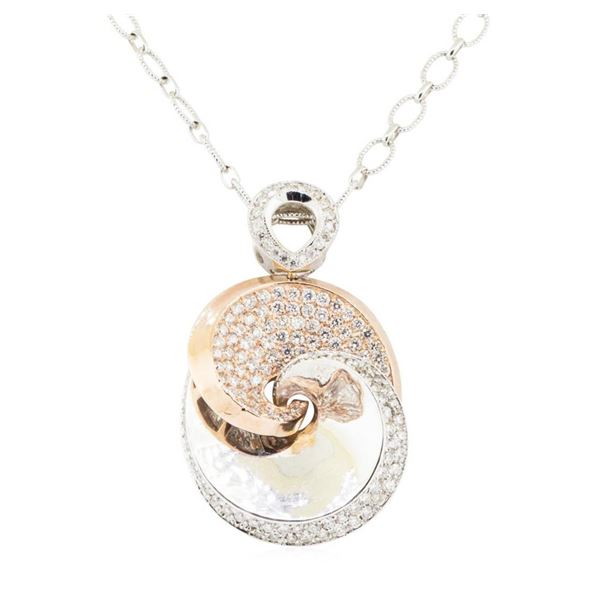2.38 ctw Round Brilliant Cut Diamond Necklace And Chain - 14KT White And Rose Go