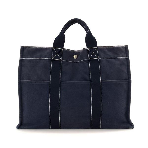 Hermes Navy Canvas Fourre MM Tout Bag