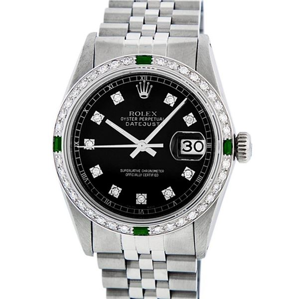 Rolex Mens 36 Datejust Black Diamond & Emerald Oyster Perpetual Serviced Polishe