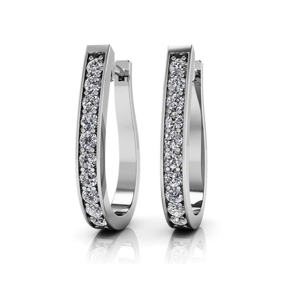 14K White Gold 1.50 ctw Diamond Earrings, (SI2/F-G)