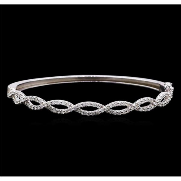 1.45 ctw Diamond Bangle Bracelet - 14KT White Gold