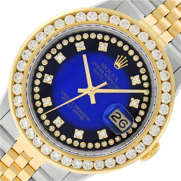 Rolex Mens 2 Tone Blue Vignette String VS 3 ctw Channel Set Diamond Datejust 36M