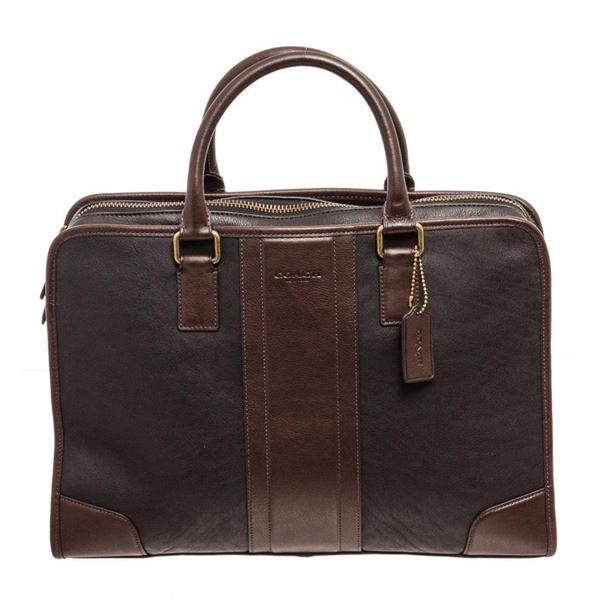 Coach Brown Bombe Leather Directors Brief Messenger Bag