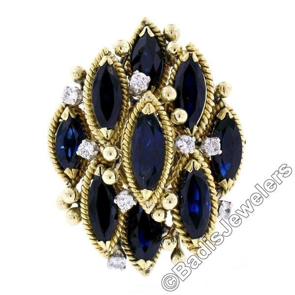 18kt Yellow Gold 7.37 ctw Marquise Sapphire & Diamond Tiered Cocktail Ring