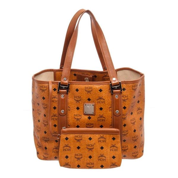 MCM Cognac Large Shopper Tote Bag