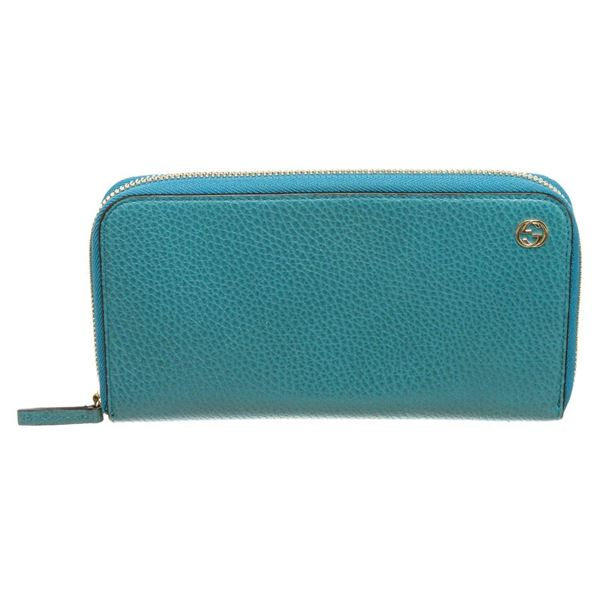 Gucci Blue Leather Zip-Around Wallet